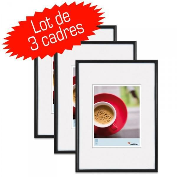 lot de 3 cadres photo galeria 15x20 cm noir achat vente cadre photo soldes cdiscount. Black Bedroom Furniture Sets. Home Design Ideas