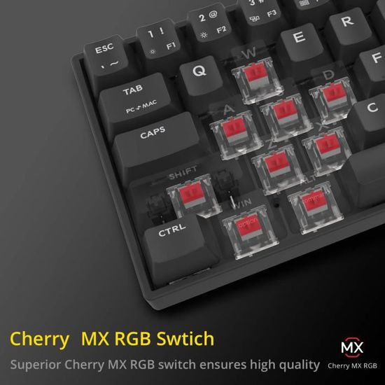 QWERTY US avec 71 Touches USB Type-C Fonctionne sur PC//Mac DREVO Calibur V2 Cherry MX Marron RGB 60/% Clavier de Jeu M/écanique RGB R/étro/éclair/é Noir