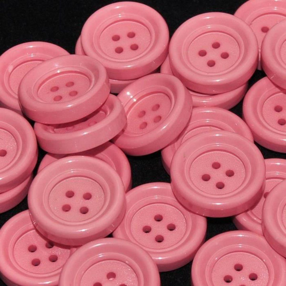 Mercerie lot de 5 Boutons plastique rose saumon 22mm button