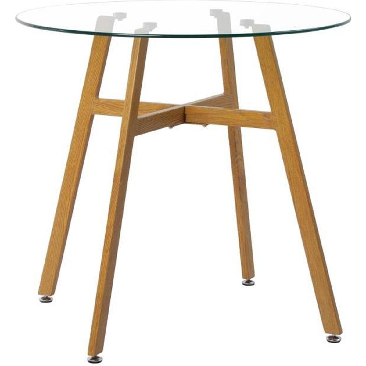 110 70 H.J WeDoo Table Scandinave Salle /à Manger en Verre avec Jambe de Fer /à Transfert de Grain de Bois de H/être et Cadre Blanc 73cm