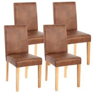 CHAISE 4x chaise de séjour Littau, fauteuil ~ tissu, aspe