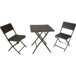 SALON DE JARDIN  Ensemble de balcon pliant, 1 table + 2 chaises, as