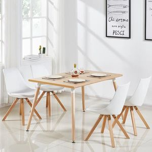 TABLE DE CUISINE  Table à manger rectangulaire scandinave bois 120cm