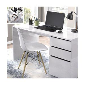 BUREAU  Table de bureau coloris blanc brillant - 75 x 139
