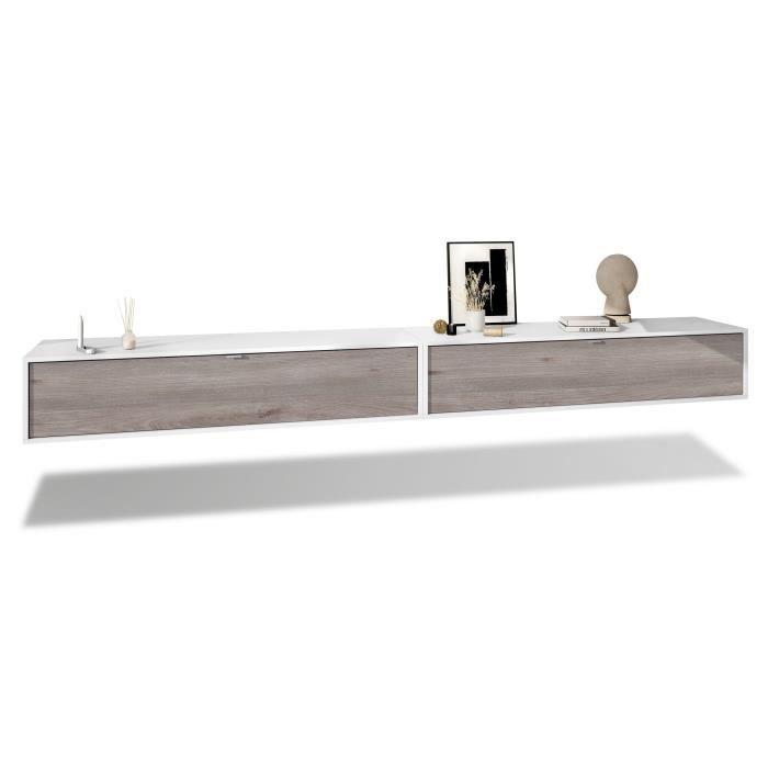 Ensemble de 2 set meuble TV Lana 140 armoire murale lowboard 140 x 29 x 37 cm, caisson en blanc mat, façades en Chêne Nordique