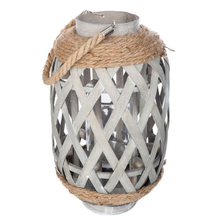 Lanterne en bambou Ethnik - H. 32 cm - Gris
