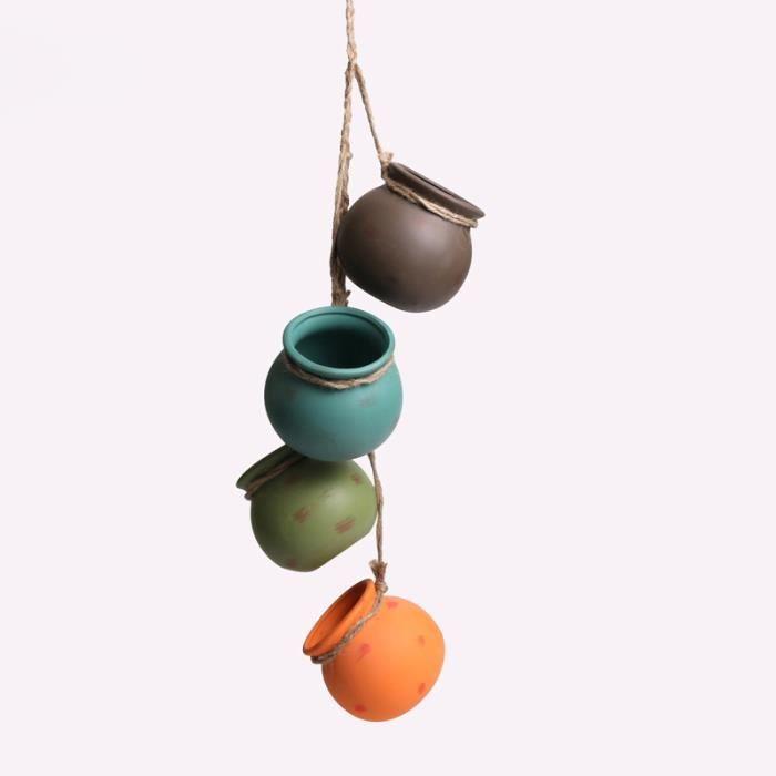 Set de 4 Pot Céramique pour Plantes Suspendues Mini pot de fleur avec Corde Décoration Murale