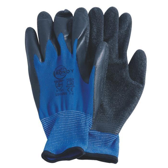 Gants manutention legere, taille L, bleu et noir - RONDY