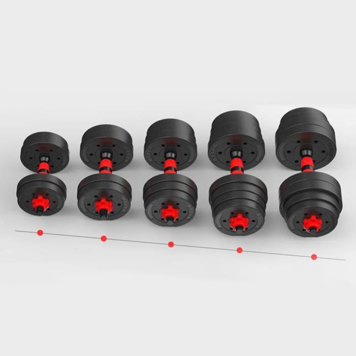 BESPORTBLE Lot d'haltères 30kg poids musculation(rouge)