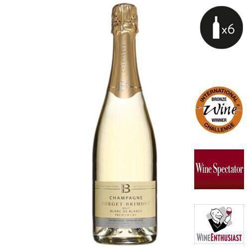6 bouteilles - Champagne blanc - Effervescent - Forget-Brimont Blanc de Blancs Premier Cru 1er Cru Blanc 6x75cl