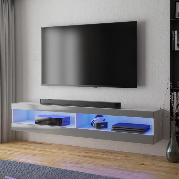 Meuble tv / Meuble de salon - VIANSOLA - 140 cm - blanc mat / gris brillant - éclairage LED - style moderne