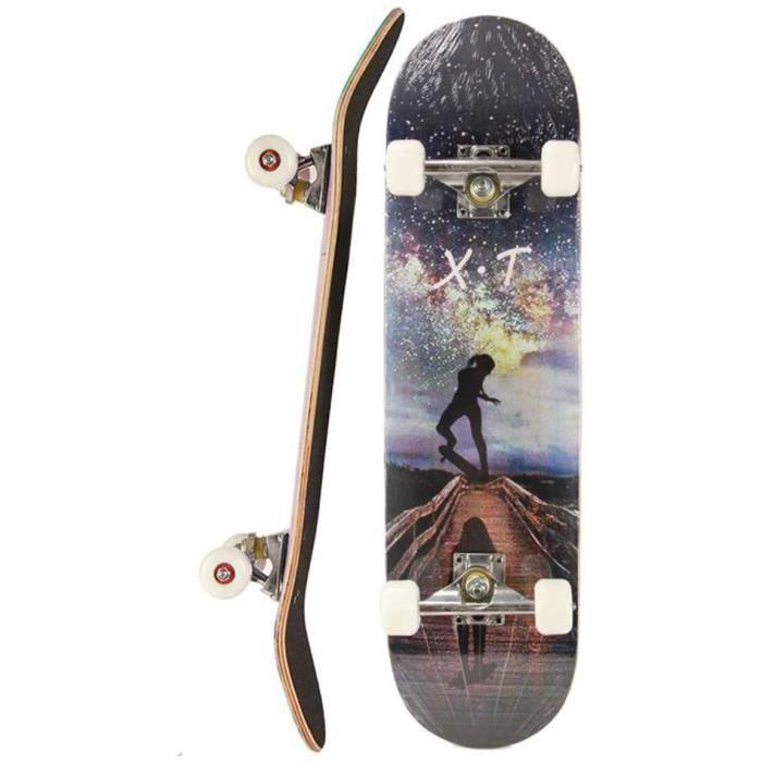 WZHESS 9 Couche canadienne de Bois d'érable Concave Planche à roulettes Planches à roulettes complète, 31 Pouces Skateboard Pro pour