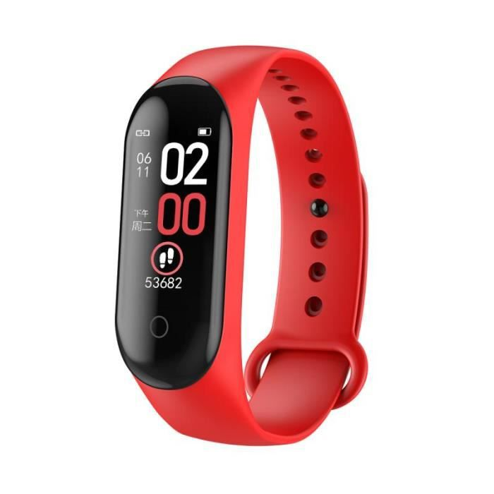 Podomètre,M4 Bracelet à bande intelligente Bluetooth Sport montre Bracelet intelligent couleur écran étanche fréquence - Type Red