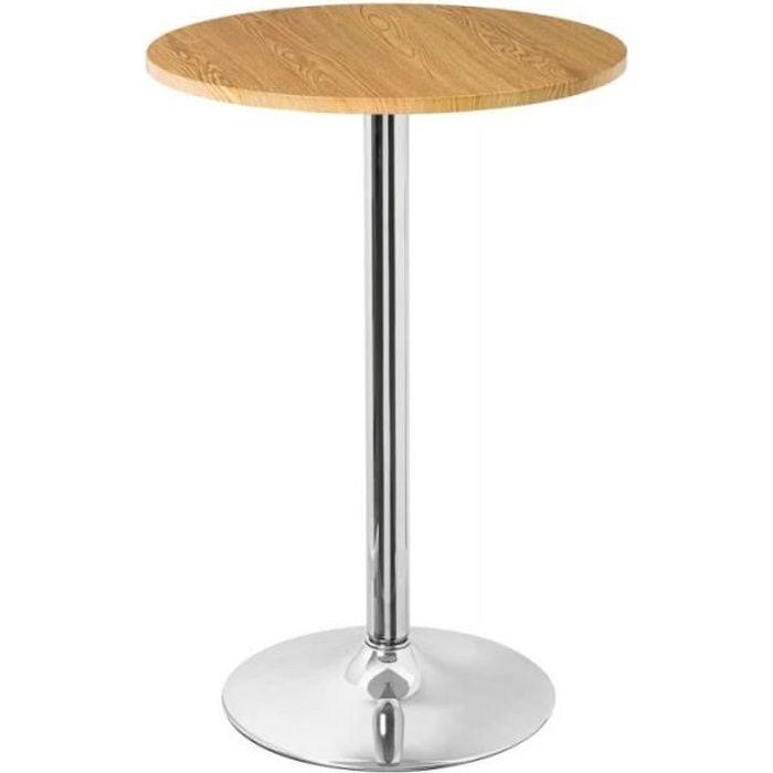 Table Haute de Bar Ronde Design Bois Clair et Chrome 0,000000