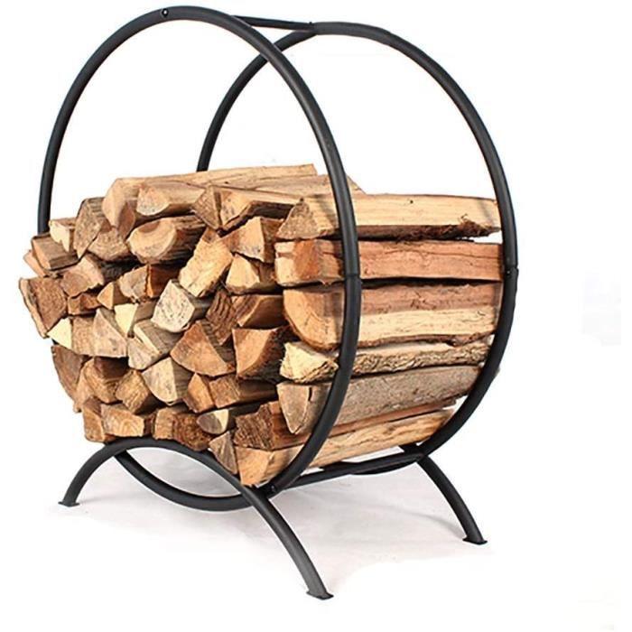 pare-étincelles cheminée support a bois de chauffage intérieur grand, panier a bûches rond moderne propre et bien rangé range 30