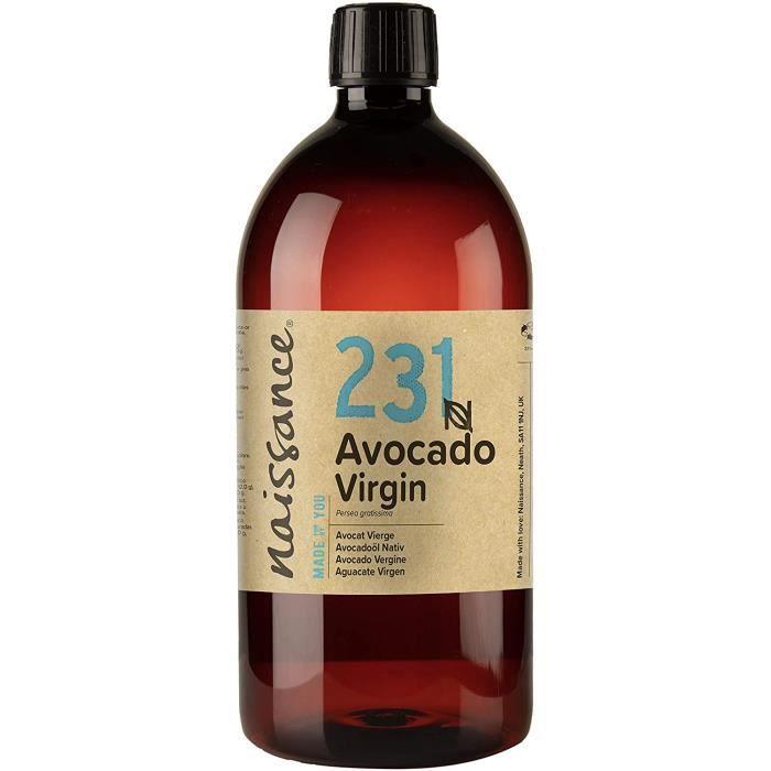 Naissance Huile d'Avocat Vierge (n° 231) - 1 litre - 100% pure, naturelle, non-raffinée et pressée à froid - végan, non testée sur l