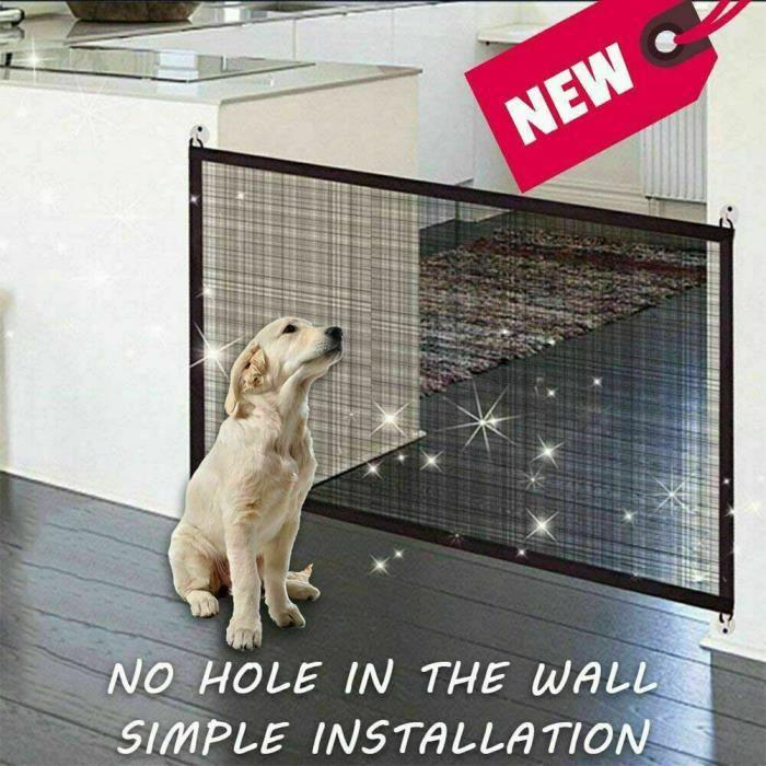 110*75cm Clôture pour animaux intérieur barrière filet de chien chat barrière d'escalier - Barrière extensible blanche treillis