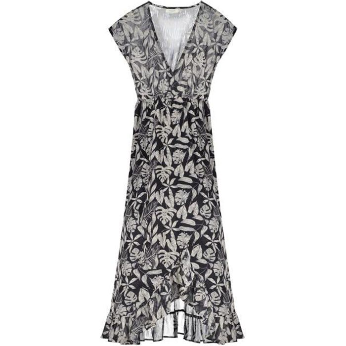 DEELUXE Robe longue à motif tropical NOELA Tropical Print Black