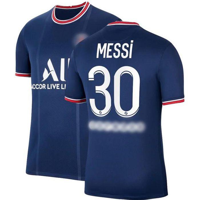 Maillot de Football Bleu T-Shirt de L'équipe de Paris-Messi Maillot de Formation 30 Tissu Respirant pour Enfant Domicile