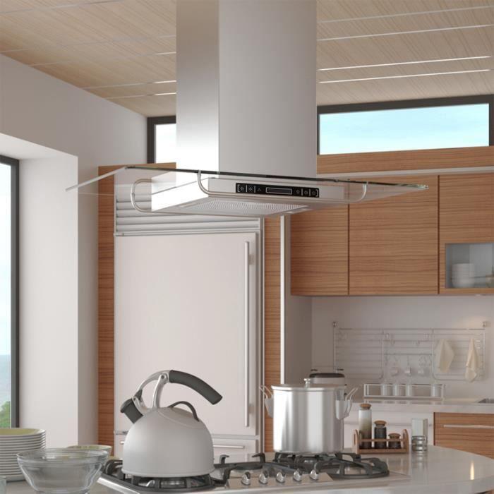 Hotte aspirante de cuisine pour ilot ultra moderne avec 2 ampoules et tuyau Argenté 750 m³/h 65 dB