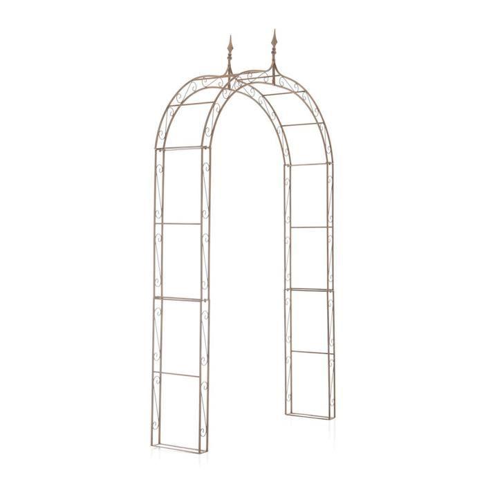 Arche à Rosiers pour jardin en fer brun antique - 264 x 147 x 37 cm