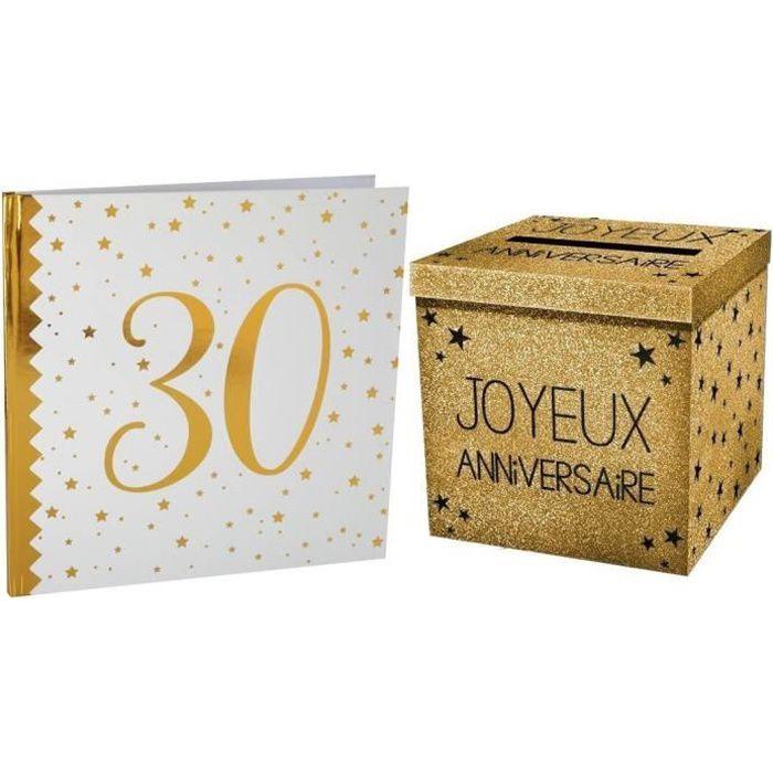 1 Pack tirelire et livre d'or anniversaire 30ans blanc et or R/6185-URNEP00OR