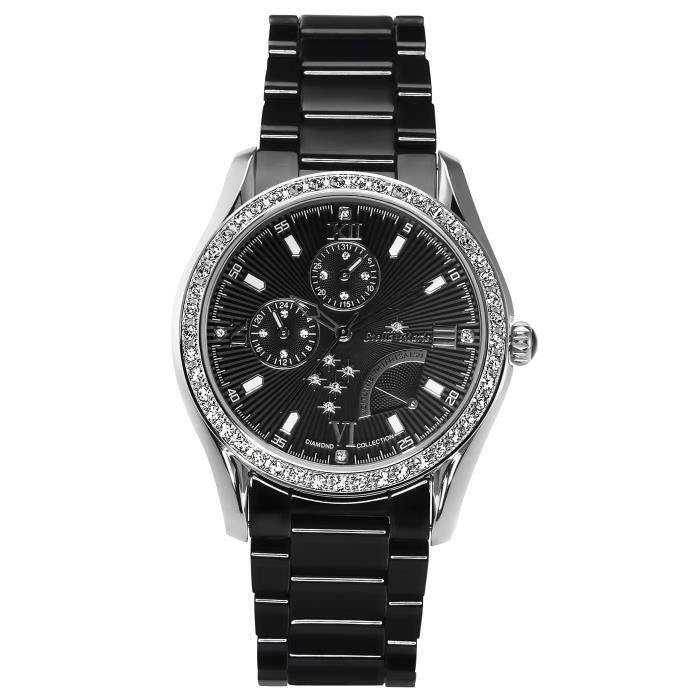 Stella Maris STM15M4 - Montre Femme Quartz Analogique Cadran noir Bracelet Céramique Noir avec diamants et éléments Swarovski
