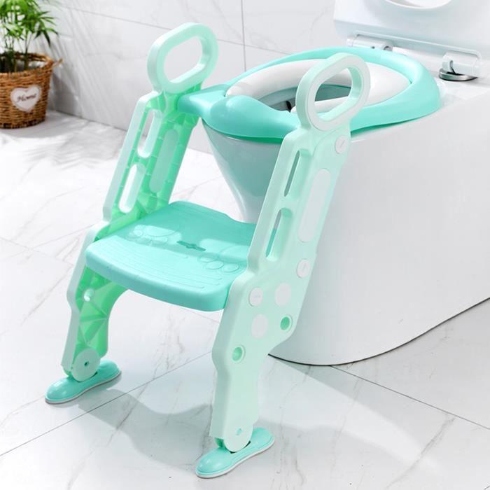 TEMPSA Réducteur De WC Siège de Toilette Enfant Bébé Pliable Réglable Avec Marches Larges Lunette de Toilette Confortable
