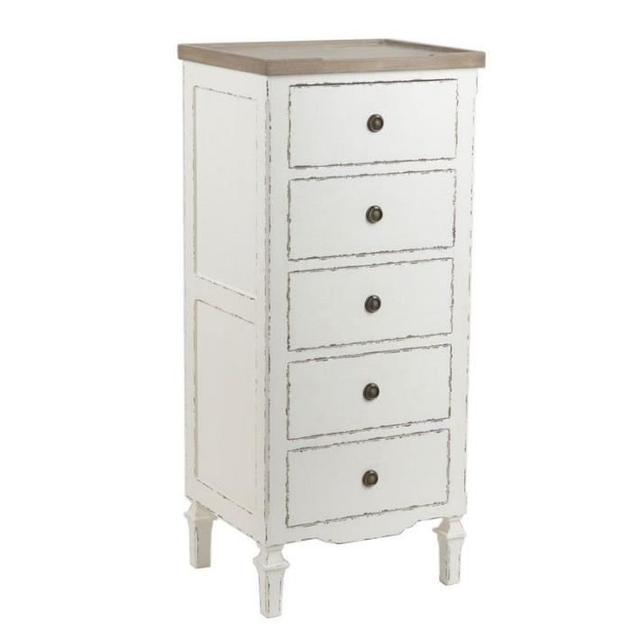 chiffonnier 5 tiroirs blanc cass patin achat vente chiffonnier semainier chiffonnier 5. Black Bedroom Furniture Sets. Home Design Ideas