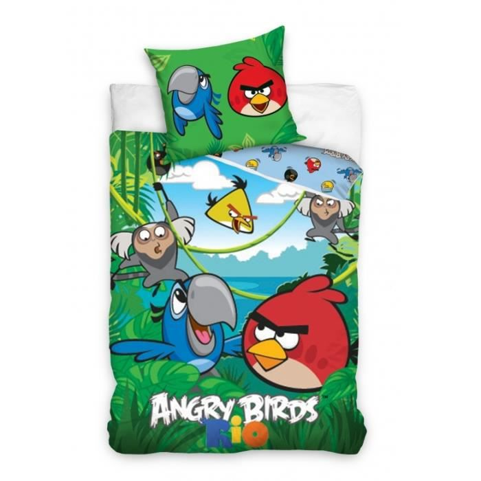angry birds rio parure housse de couette 160x200 achat vente pack linge de lit cdiscount. Black Bedroom Furniture Sets. Home Design Ideas