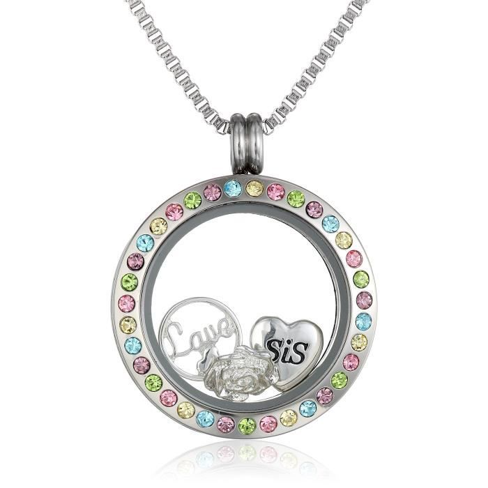Jewel Panda Charmed Médaillons LoveS Sister Collier pendentif, 24