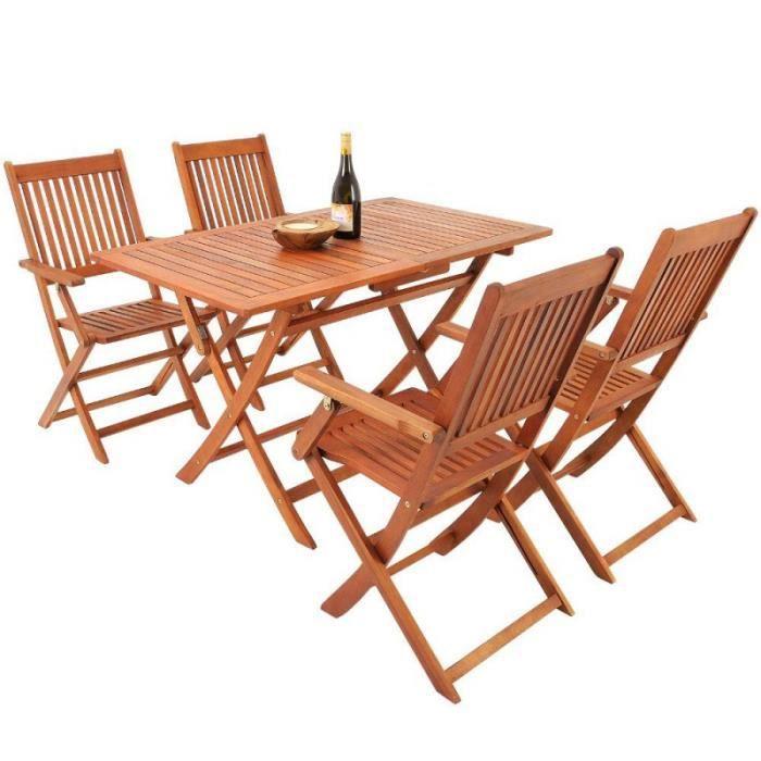 Ensemble 1 Table Et 4 Chaises En Bois Dacacia Pliable