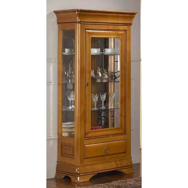 vitrine 1 porte vitr e 1 tiroir merisier massi achat vente vitrine argentier vitrine 1. Black Bedroom Furniture Sets. Home Design Ideas