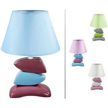 lampe galet c ramique coloris abat jour bleu achat. Black Bedroom Furniture Sets. Home Design Ideas