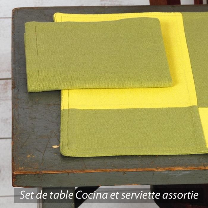 set de table cocina damier vert et jaune achat vente. Black Bedroom Furniture Sets. Home Design Ideas