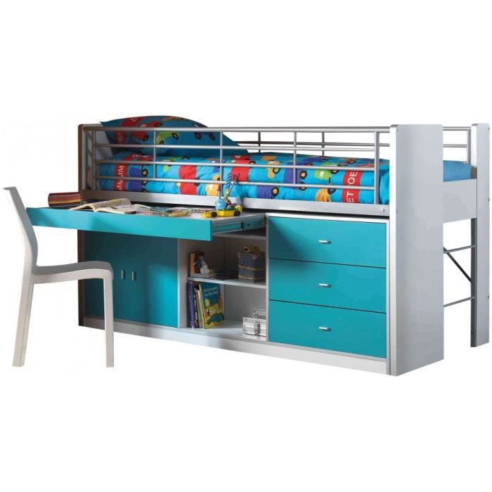 lit enfant bureau r tractable laqu bleu turquoise bonny achat vente lit complet lit enfant. Black Bedroom Furniture Sets. Home Design Ideas