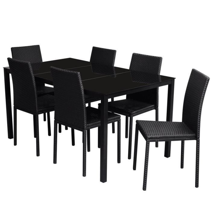 1 table manger en rotin lot de 6 chaises noires achat for Lot 6 chaises noires