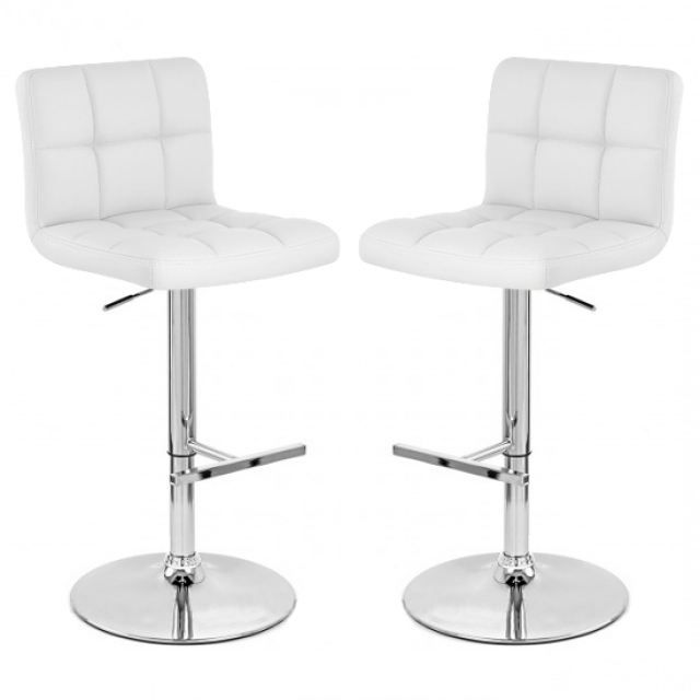 tabouret de bar blanc x2 mustang achat vente tabouret de bar pvc acier chrom soldes. Black Bedroom Furniture Sets. Home Design Ideas