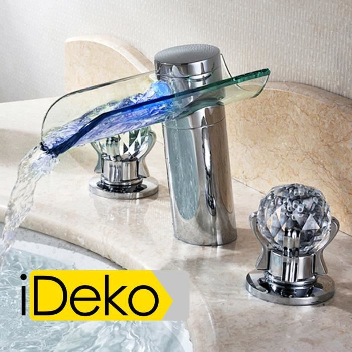 ideko robinet mitigeur lavabo cascade led salle de bain baignoire en laiton verre moderne. Black Bedroom Furniture Sets. Home Design Ideas