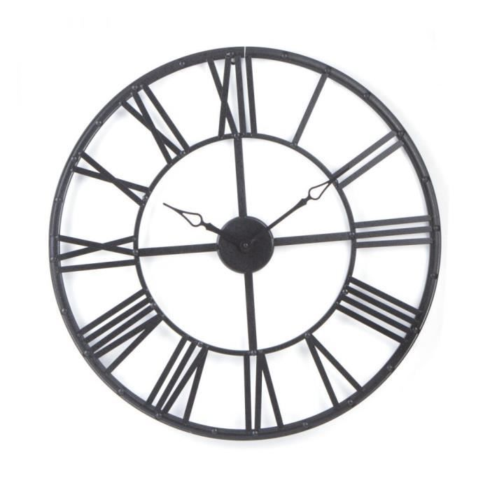 horloge murale metal vintage noir 70 cm achat vente horloge pendule cdiscount. Black Bedroom Furniture Sets. Home Design Ideas