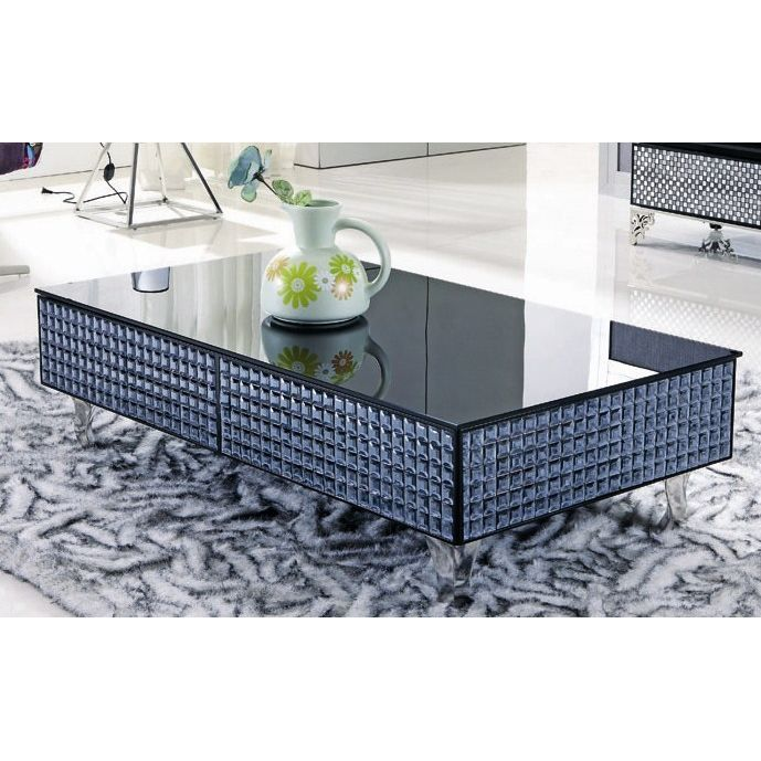 table basse laqu e noire mosaique et verre ambrine achat. Black Bedroom Furniture Sets. Home Design Ideas