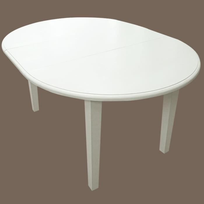 Table ronde 2 allonges en pin massif blanche achat for Table ronde laquee blanche avec rallonge
