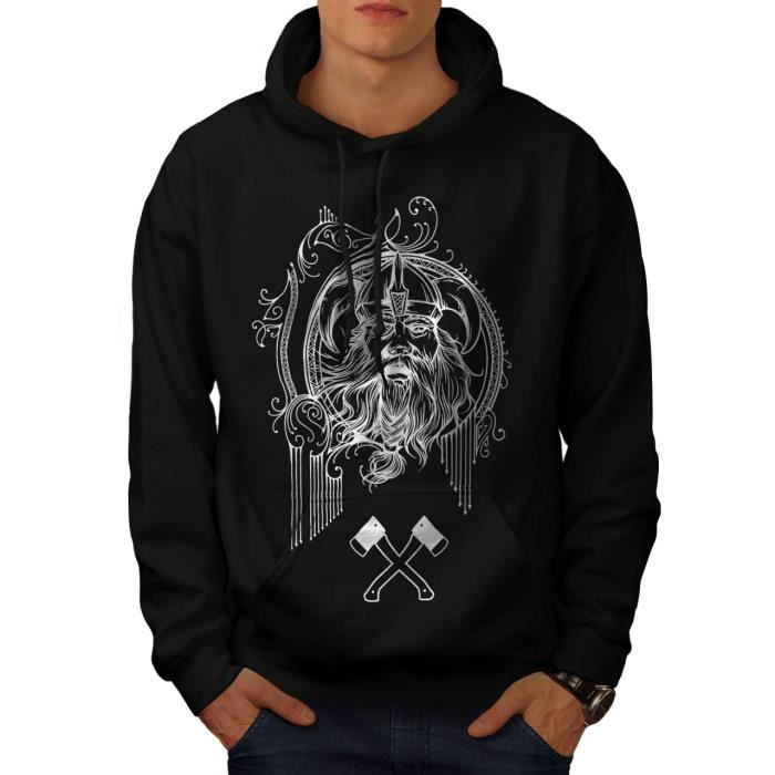 Viking guerrier Visage Bataille Hache Men S 5XL Sweat à capuche | Wellcoda