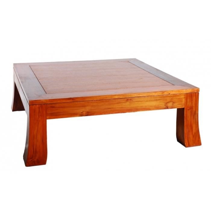 Table basse carr e en teck 104 x 104 x 37 cm achat vente table basse tab - Table basse carree teck ...