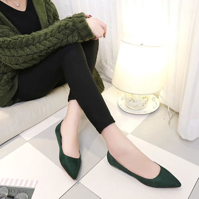 Vert Girl Fashion Shoes Casual Femmes Slip Flat Pointed Shallow Top on Party 5PrqZP7nxw