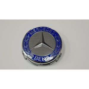 DÉCORATION VÉHICULE 4x Logo Jante Mercedes Benz Bleu Nuit 75mm Cache M