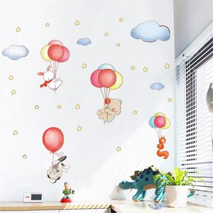 JEU DE STICKERS autocollants de mur de dessin animé animal ballon