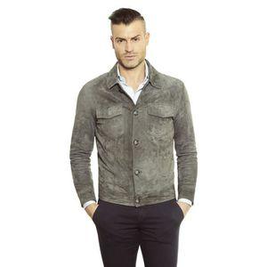 BLOUSON SUEDE BIKER • couleur grise • blouson cuir homme s