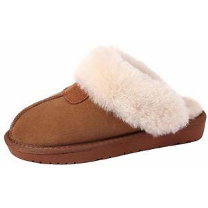 DUNLOP pour Homme Pantoufles Hiver Chaud Confortable En Peau De Mouton Fourrure Luxe Intérieur Slip On Chaussures