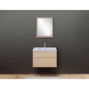 SALLE DE BAIN COMPLETE Ensemble de salle de bain chêne 80 cm meuble + vas